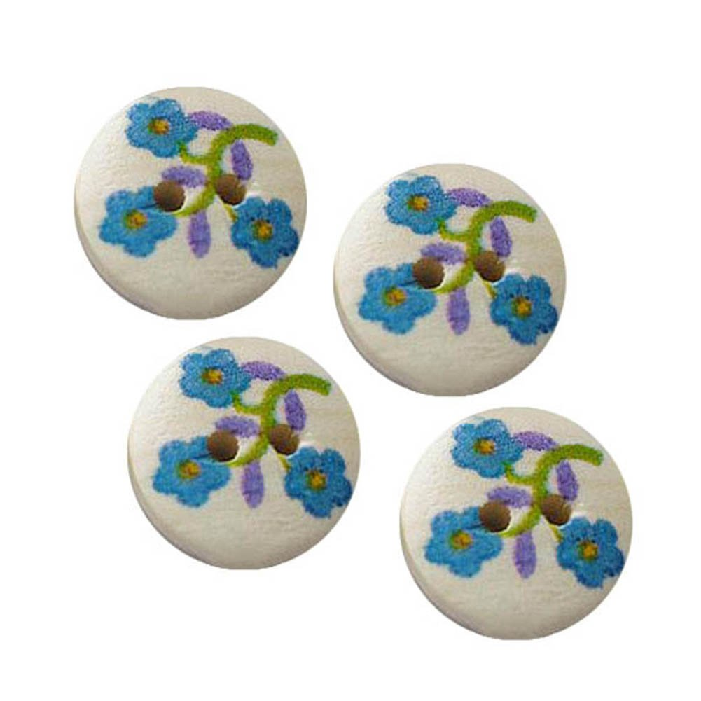Janecrafts 15mm Wood Paint Sewing Cloth Button Charms