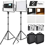 FOSITAN LED Video Light with 2M Stand Bi-Color 3960 Lux 200 SMD CRI 96+ U-Bracket LCD Display Metal Shell Video Lighting Kit for Studio Photography Shooting (2 Packs) (Color: L4500-II, Tamaño: L4500-II)