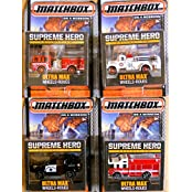 SUPREME Hero Matchbox Rescue 4 PK MBX 2015 Real Rubber Tires - Fire Truck & Police Rescue Set Ultra