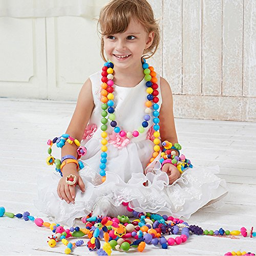 Wishland Pop-Arty Beads Snap-Together for Kid Necklace and Bracelet Crafts Birthday Christmas Toy Gifts -85 Pieces Set
