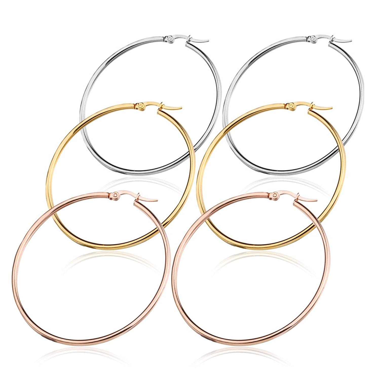 FIBO STEEL 3 Pairs Stainless Steel Hoop Earrings Set for Women 40-50mm