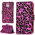 OkSoBuy® Samsung Galaxy S5 I9600 case,PU Leather Wallet Twinkling Star,Credit Card Holder Slots,Kickstand Flash Leopard Texture Magnetron Case For Samsung S5 (Rose Pink)