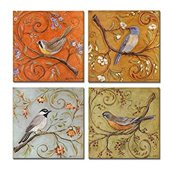 SpecialArt - Series Paintings Wall Art - Colorful Birds on Curly Branches painting - 4 Panels Picture Print on Canvas for Modern Home Decor