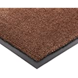"""Durable Corporation Olefin Fiber on Vinyl Backing Wipe-N-Walk Entrance Mat, for Indoor Areas, 2' Width x 3' Length x 3/8"""" Thickness, Brown"""