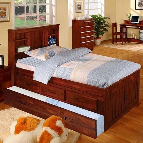 Discovery World Furniture Twin Bookcase Captains Bed With 3 Drawers And Twin Trundle Merlot