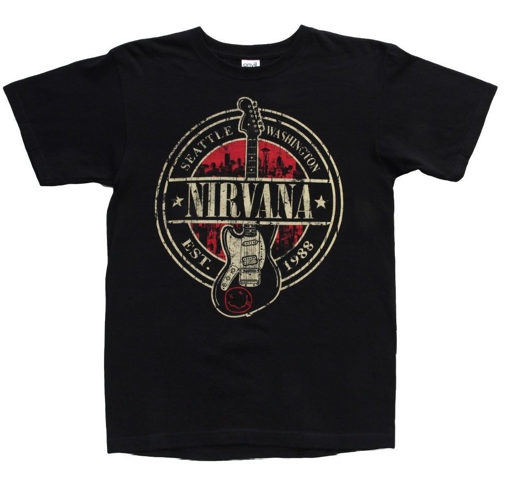 Nirvana Est. 1988 Guitar Stamp Black T-Shirt 0