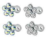 2 Pairs 14g Flower Dermal Anchor Tops and Base Surgical Steel Microdermals Piercing Body Jewelry