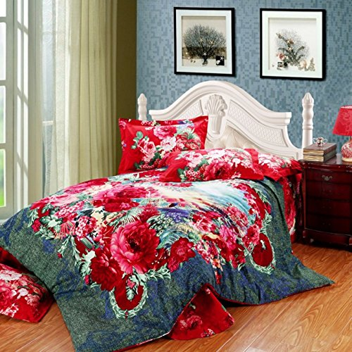 Lt Queen King Size 100% Cotton Thickening Sanded Soft 4-Pieces Red Flowers Peacock Blue Green Vintage Floral Prints Duvet Cover Set/Bed Linens/Bed Sheet Sets/Bedclothes/Bedding Sets/Bed Sets/Bed Covers/5-Pieces Comforter Sets (4, King) front-804574