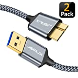 USB 3.0 Micro Cable, JSAUX 2 Pack (3.3ft+6.6ft) USB 3.0 A to Micro B Cable Charger Nylon Braided Cord Compatible with Samsung Galaxy S5, Note 3, Note Pro 12.2, Hard Drive, Camera etc. (Grey) (Color: grey, Tamaño: 6.6 Feet)
