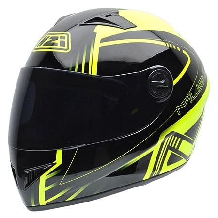 NZI 050261G608 Must NAF Casque de Moto, Fluorescent Jaune/Noir, Taille : M