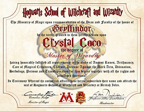 Personalized Harry Potter Diploma - Gryffindor - Hogwarts School of Witchcraft and Wizardry Degree of Master of Wizardry (Personalized Harry Potter compare prices)
