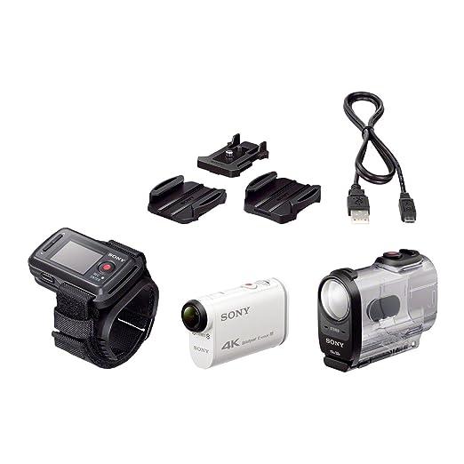 Sony FDRX1000VR.CEN Caméra d'action sportive avec montre de pilotage GPS intégré 4K Full HD Wifi/NFC Blanc