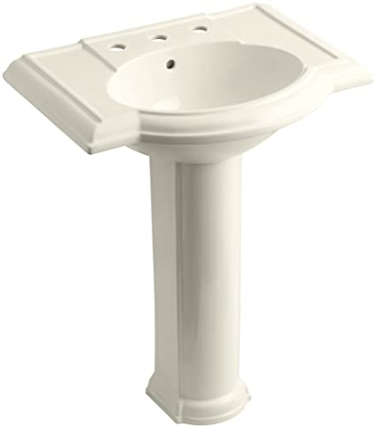 "KOHLER K-2294-8-47 Devonshire Pedestal Bathroom Sink with 8"" Centers, Almond"