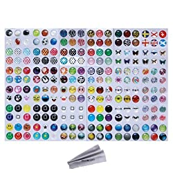 216pcs Cute Polka Dots Colorful Bubble Emoiji Home Button Stickers for iPhone 3GS 4 4S 5 iPod Touch 4 iPad 2 3 4 + 1pc Microfiber cleaning Cloth by Wisdompro (Pattern 2)
