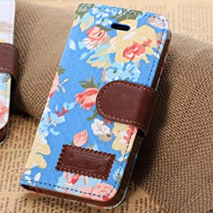 Euroge Tech® iphone 5c Flowers Canvas Wallet Carrying Case Stand Cover with Card Slots(blue)