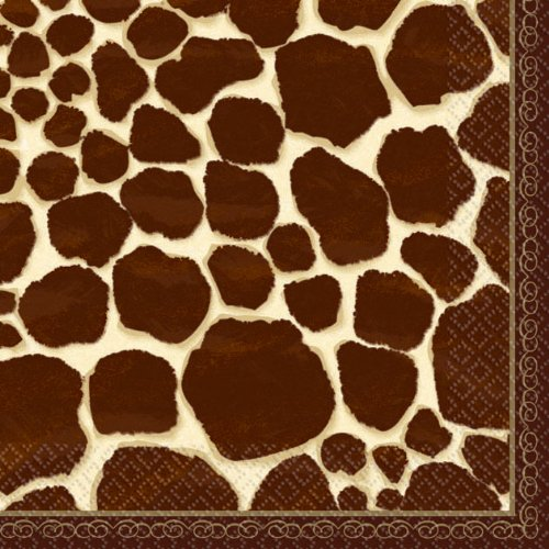"Amscan Decorative Giraffe Party Beverage Paper Napkins (16 Pack), 5 x 5"", Black/Brown"