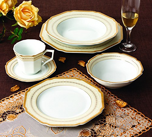 Royal Porcelain 24pcs Octagon Dinner Set 24K Gold-Plated Bone China Dinnerware Service for 4. Four 10.5  dinner plates 8.5  soup plates 7.5  flat plates ... & Gold Christmas Dinnerware Sets | Christmas Wikii