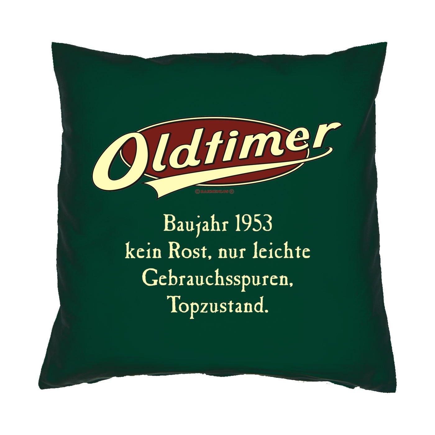 Kissen mit Innenkissen - OLDTIMER BAUJAHR 1953 - kein Rost, nur leichte Gebrauchsspuren, Topzustand. - zum 60. Geburtstag Geschenk - 40 x 40 cm - in dunkel-grün