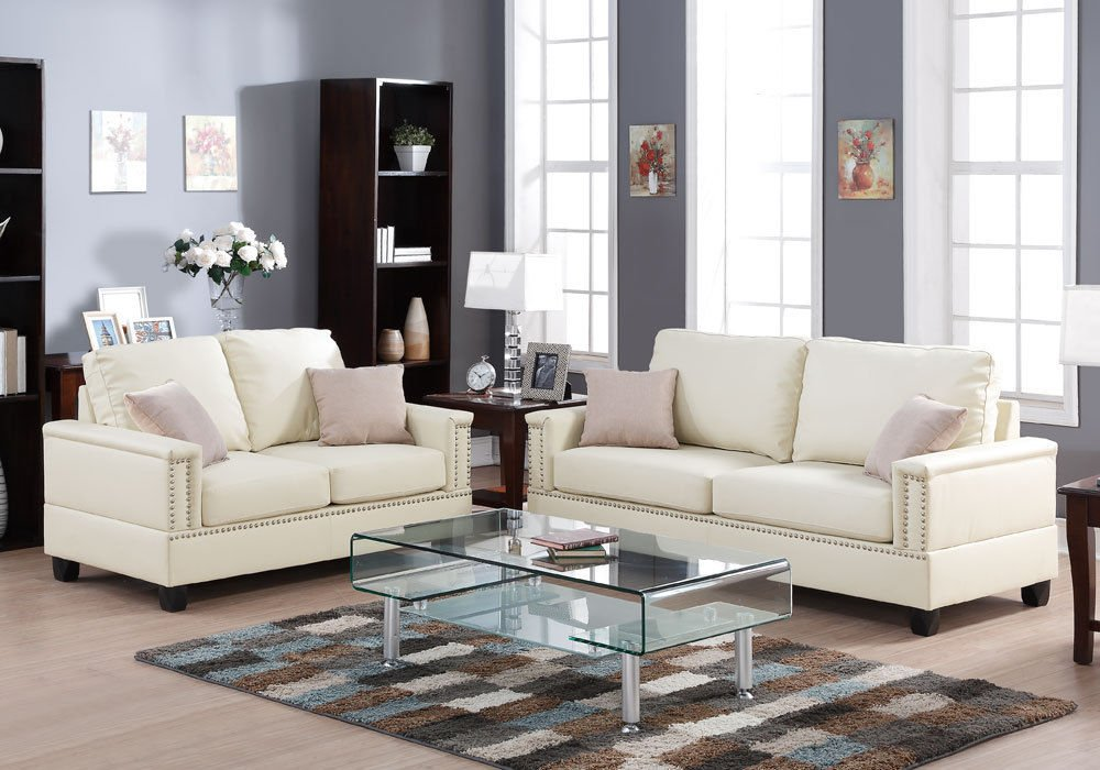 1PerfectChoice Modern 2 Pieces Sofa Set Couch Loveseat Nailhead Trim Arm Beige Bonded Leather
