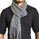 Alpine Swiss Winter Scarf Soft Elegant Long Fashion Wrap Scarves Blue Houndstooth