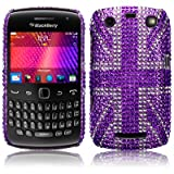 Blackberry Curve 9360 Purple Union Jack Diamante Case / Cover / Shell / Shield Part Of The Qubits Accessories Rangeby Qubits
