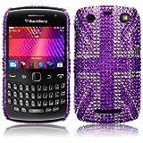 Blackberry Curve 9360 Purple Union Jack Diamante Case / Cover / Shell / Shield Part Of The Qubits Accessories Rangeby Qubits