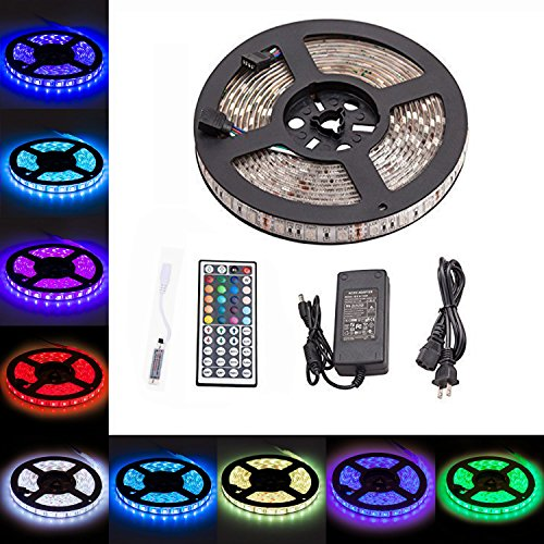 LTROP SMD 5050 RGB 300 LED Light Strip Kit, 16ft 5M Non-waterproof Flexible Strip Lights with Mini 44 Key Controller and 12V 5A Power Supply (5v Led Light Strip compare prices)