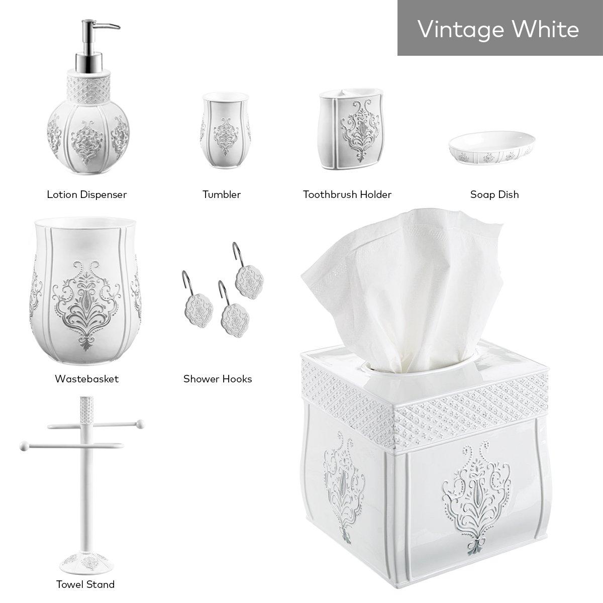Creative Scents Vintage White Bathroom Trash Can (7.25