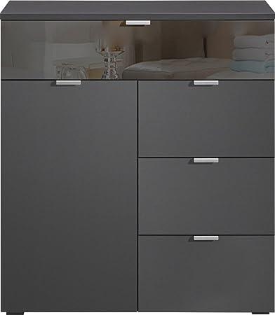CS Schmalmöbel 35.540.146/12 Compleo Kommode Typ 12, 91 x 101 x 38.5 cm, graphit / grauspiegelglas