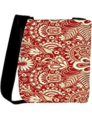 Snoogg Floral Red And White Womens Carry Around Cross Body Tote Handbag Sling Bags