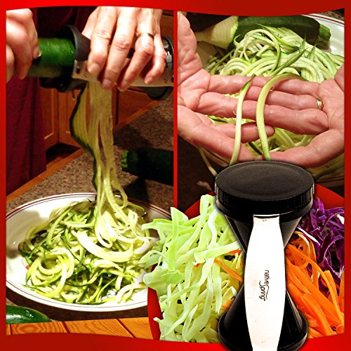 Native Spring Spiral Vegetable Slicer, Hand Held with Cleaning Brush, Zucchini & Carrot Veggie Pasta Maker