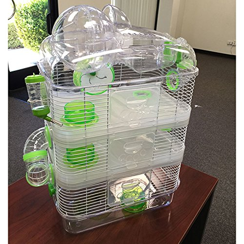 "4 Level Hamster Mice Mouse Cage with Large Top Exercise Balll 25"" Height (Green)"