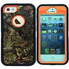 buy Kecko®Iphone 5/5S Case,Defender Military Tough Rubber Shockproof High Impact Hybrid Comouflage Hunting Camo Tree Case Covers For Iphone 5S/5 With Built-In Screen Protector(Not For Iphone 5C)