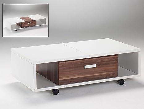 Couchtisch Immo 105 bis 132x33x62 Tisch ausziehbar rollbar weiß Nussbaum Dekor Sofatisch Wohnzimmer Wohnzimmertisch Ausziehtisch