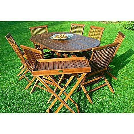 Set de mesa y sillas de teca BALI 8 plazas, con mesa, 120-180 cm