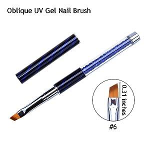 Ycyan 4Pcs UV Gel Nail Brush Set Rhinestone Handle Nylon Brushes Kit Professional Nail Art Tools (Color: Multi-colored)