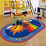 RuiHome Non-Slip English Alphabet Color Numbers Learning Activity Children Play Mat Living Room Bedroom Bedside Baby Toddler Nursery Rug, Oval Shape 47