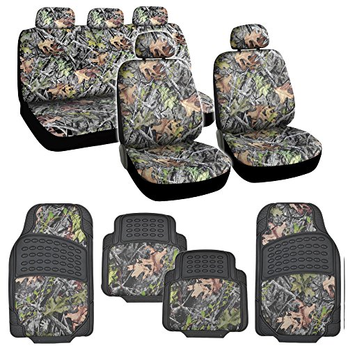 Hunting Camo Gray Forest Seat Cover & Camouflage 4 Piece All Weather Waterproof Rubber Car Floor Mats (Camo Waterproof Seat Covers compare prices)