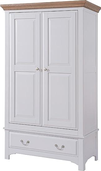 Devon Oak 1 Drawer Full Hanging Wardrobe Oak and Grey Painted Finish | Wooden Bedroom Furniture