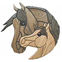 Mare & Foal Intarsia Wood Carving