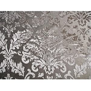 "54"" Wide Grey Damask - Burnout Velvet Fabric By the Yard"