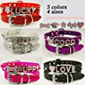 Lesypet Dog Puppy Cat Bling Leather Collars Rhinestone Combinations of letters,Personalized Customized Free Name