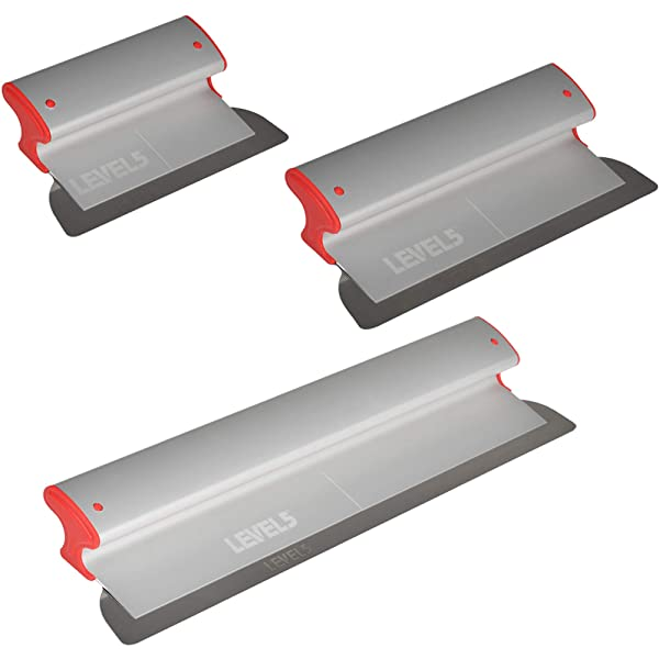 Drywall Skimming Blade Set - 10, 16 & 24 Blades | LEVEL5 | Pro-Grade | Extruded Aluminum & European Stainless Steel Construction | High-Impact End Caps | 5-443
