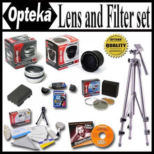 Opteka Ultimate Accessory package For The Panasonic Lumix DMC-FZ35 DMC-FZ28 DMC-FZ18 Package Includes 0.35 Wide Angle Lens, 2X Telephoto Lens, Piece Filter Kit, Spare Batery, 8GB Memory Card, Tripod, Pro Case and Much more