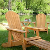 Big Daddy Reclining Adirondack Chair Set with FREE Side Table - Natural by Weicheng (HK) Industrial Trade Co Ltd