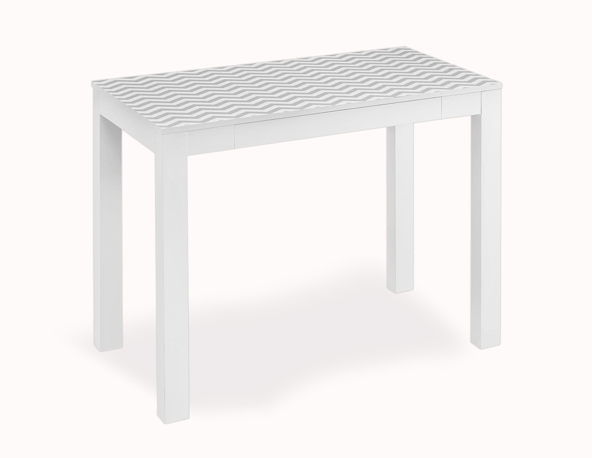 Altra Parsons Study Desk With Drawer White With Chevron Pattern Top 12