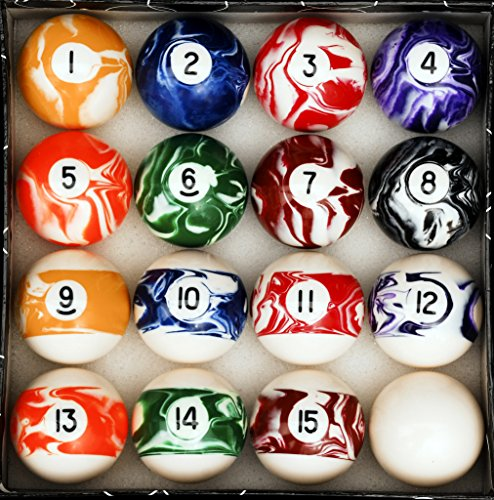 Buy Bargain Pool Table Billiard Ball Set, Marble/Swirl Style