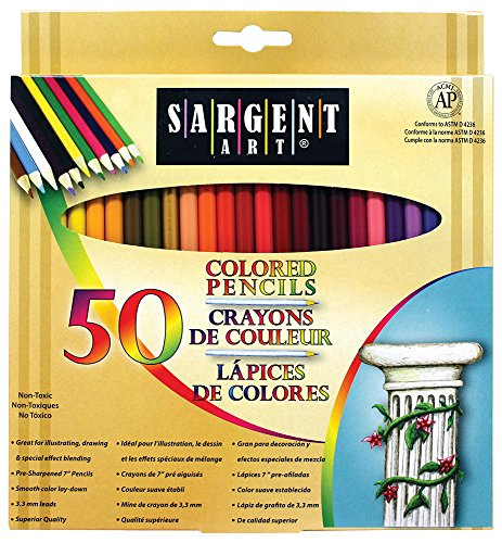 Sargent Art Premium Coloring Pencils, Pack of 50 Assorted Colors, 22-7251 (Gems Arts And Crafts compare prices)