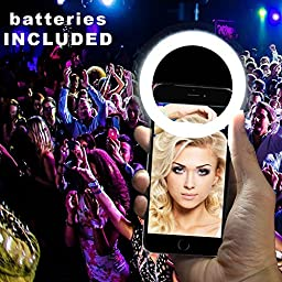 Luvami Selfie Light Ring 36 LED - Batteries Included - iPhone 6 plus, 6s, 5s, 5, 4s, 4; Samsung, Sony, Motorola; Clips on All Smartphones - Black
