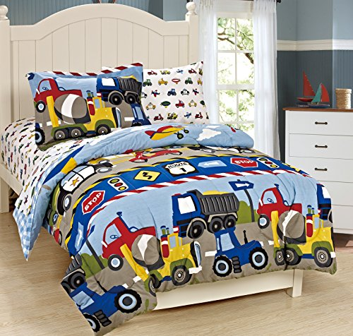 For Sale! Mk Collection Twin Size Trucks Tractors Cars Kids/boys 5 Pc Comforter and Sheet Set Blue R...
